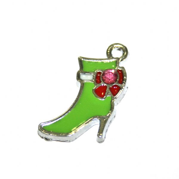 1pce x 14*14mm Rhodium plated green high heel boot with red colour bow enamel charm - SD03 - CHE1328
